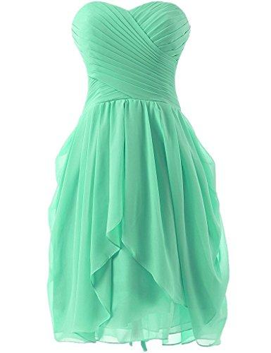 Prom Short Mint Dreagel Dress Party Women's Pleat for Dresses Bridesmaid wpXpOSq