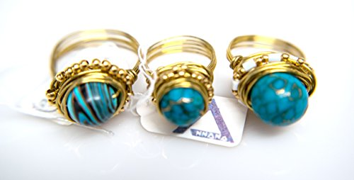 3 Stone Designer Ring - Wholesale of Gold Wire Wrapped Turquoise Gemstone Rings Lot of 3 Designer Rings