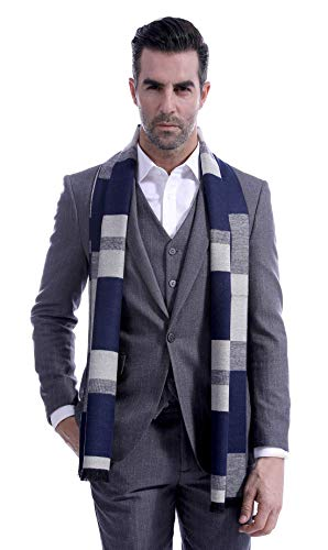 Men Cashmere Plaid Knitted Scarf Soft Warm Cashmere Feel Neckwear Men Business Fine Scarves Blue & Gray by Panegy (Image #1)