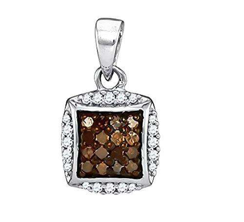 - Brandy Diamond Chocolate Brown Silver Princess Necklace Pendant 1/4 Ctw.