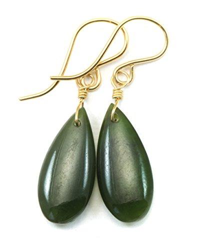 - 14k Gold Filled Nephrite Green Jade Earrings Dainty Smooth Teardrop Drops