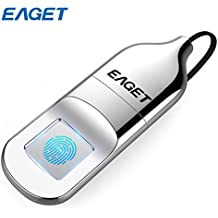 Eaget FU5 Fingerprint Encryption USB Flash Drive Fingerprint U Disk Data Security Protection Identification Business Office Metal Silver (64GB)