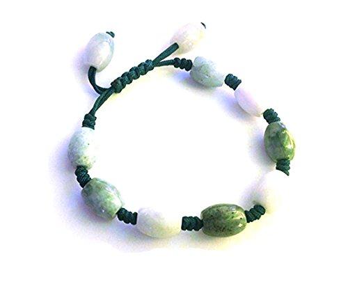 Karatgem Jewelry Multi-Style Natural Jadeite Jade Adjustable Rope String Bracelet Bangle Beads (Style 4)