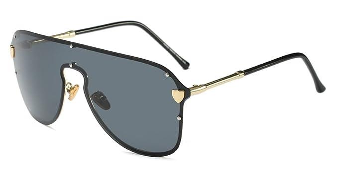 63c671f80a4e Oversized Shield Sunglasses for Women Rimless Vintage Square Rectangular  Frame (Black, 58)