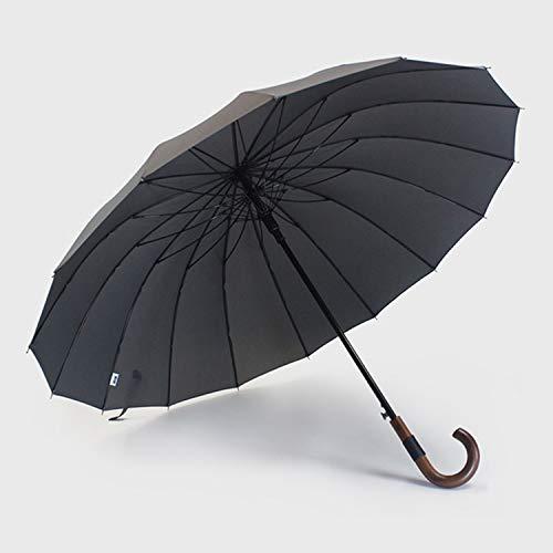 - Big Umbrella Wooden Windproof 16 Ribs Busis Japae Long Handle Umbrella Rain Women Men Clear Umbrella,Gray