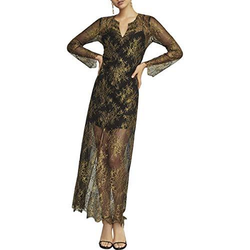 BCBG Max Azria Olivia Womens Metallic Long Sleeve Lace Maxi Dress Black Size S