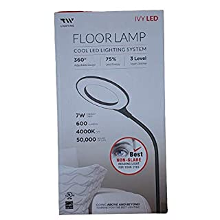 Floor Lamp with 3 Brightness Levels, 600 Lumens, 360° Adjustable LED Floor Light, TW Dimmable Best Non-Glare Reading Standing Lamp for Sewing Living Room Bedroom Office (Black)