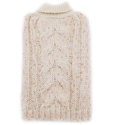 kyeese Dog Sweaters Turtleneck Beige Dog Sweater Knitwear Pullover Warm Pet Sweater with Golden Glitter Decors