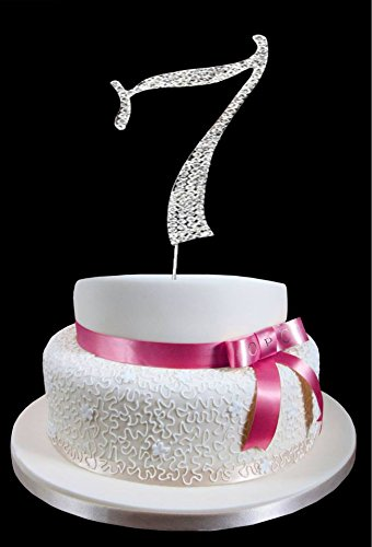 Amazon Large Number 7 Birthday Wedding Anniversary Cake Topper With Sparkling Rhinestone Crystals