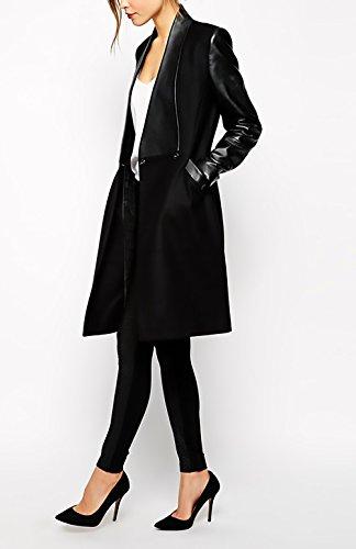 Autunno Fit Casuale Donne Battercake Tasche Fashion Pelle Nero Cappotto Giaccone Eleganti Cucitura Slim Outerwear Con Bavero Lunga Manica Invernali Donna Giacche zWz7qaF