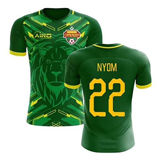 (Airosportswear 2018-2019 Cameroon Home Concept Football Soccer T-Shirt Jersey (Allan Nyom 22))