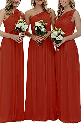 EUMI Chiffon Bridesmaid Dresses Women's Long One Shoulder Asymmetric Prom Evening Gowns, Burnt Orange, US10 (Burnt Orange Bridesmaid Dresses)