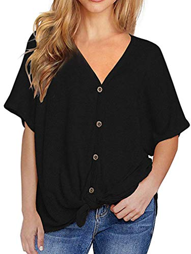 (Fronage Women's Casual Tops Short Sleeve V Neck Button Down Loose Blouse Summer Henley Shirts Plus Size(XXL, 02 Black))
