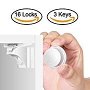 Child Safety Magnetic Cabinet Locks(16 Locks + 3 Keys), Baby Proof, No Tools Or Screws Needed - TimberRain