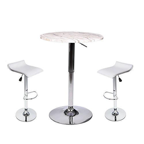 35 Inches Height Pub Table Round Marble Color Mdf Top, with 2 White Contemporary Chrome Air Lift Barstool Adjustable Swivel (Top Leather Pub Chair)