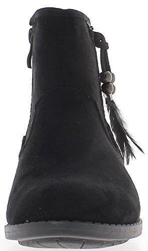 Bottines femme noires doublées à talon gomme de 2 cm avec lacet et plumes