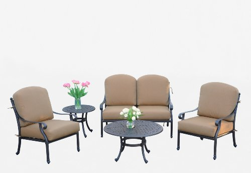 (Meadow Décor K5LDP-W5448 Kingston 5-Piece Deep Seating Patio Loveseat Set )