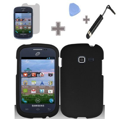 Rubberized-Solid-Black-Snap-on-Hard-Case-Skin-Cover-Faceplate-with-Screen-Protector-Case-Opener-and-Stylus-Pen-for-Samsung-Galaxy-Discover-S730g-Galaxy-Centura-S738c-StraightTalk-Net-10-Tracfone
