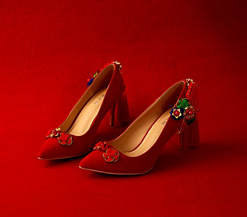 Pointed Green For Wedding 5 Knot Prom Dress Red Tassel Toast Heel Shoes Fine High Heels 5 Heels Retro VIVIOO Suede Sandals Chinese Flower Bridal Show WOwFqZB1q