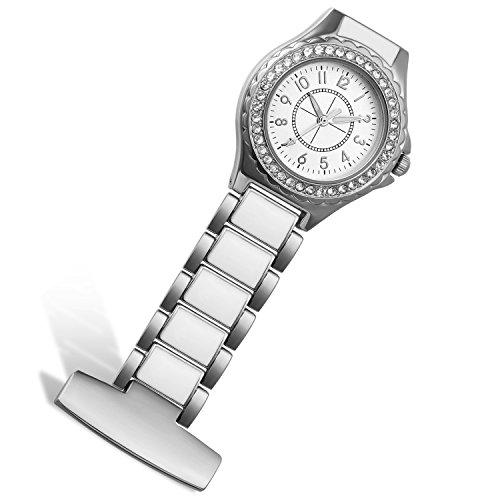 - Lancardo Nurse Silver Tone Rhinestone Case Stainless Steel Fob Pocket Watch with Japanese Movement