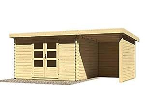Karibu Wood Feeling Jardín Casa bastrup 7con arrastre techo 2metros, posterior y lateral Pared