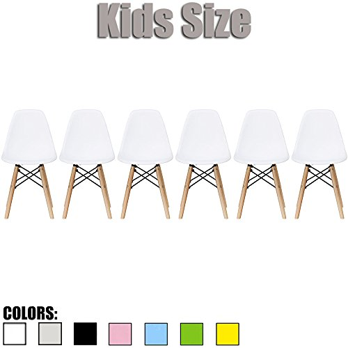 2xhome - Set of Six (6) - White - Kids Size Eames Side Chairs Eames Chairs White Seat Natural Wood Wooden Legs Eiffel Childrens Room Chairs No Arm Arms Armless Molded Plastic Seat Dowel (6 Arm Chair Set)