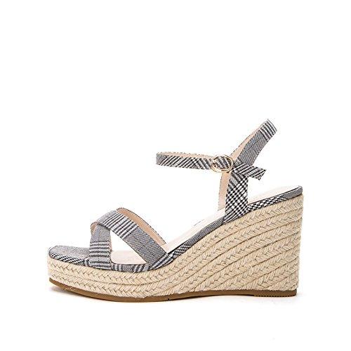 Tacchi DHG Pantofole moda Grigio casual basso Sandali alla donna estivi Sandali piatti a tacco con 39 basso tacco Sandali da alti rYxqTCr