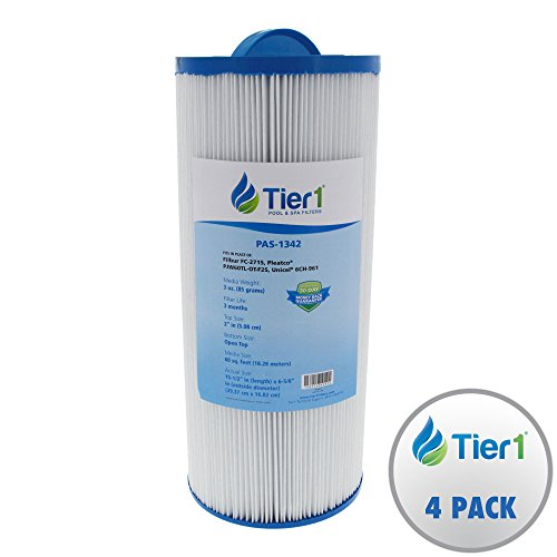 Tier1 Jacuzzi J300 6541-383, Pleatco PJW60TL-OT-F2S, Filbur FC-2715, Unicel 6CH-961 Comparable Replacement Spa Filter for J300 Series Jacuzzi's (4 Pack) by Tier1