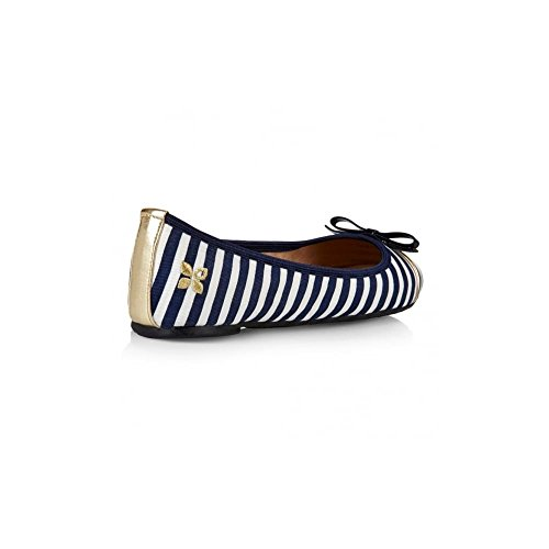 WoMen Navy Ballet Butterfly Flats Twists White Cara w514Cpxq