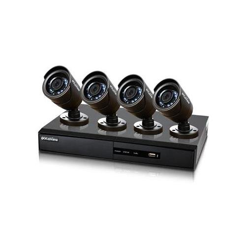 Laview LV-KDV1404B6BP-500GB H.264 Internet & 3G Phone Accessible 4-Channel DVR with 4 Night Vision 600TVL Bullet Cameras and 500