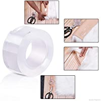 Bellveen Double Sided Adhesive Tape, Transparent Strong Adhesive Traceless Tape Removable Washable and Reusable Anti Slip Tape for Home Supplies   1 Meter
