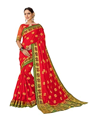 Viva N Diva Sarees for Women's Banarasi Art Silk Red Zari Woven Butti with Border Saree with Un-Stiched Blouse Piece,Free Size