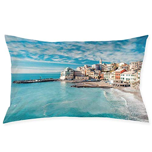 xiaodengyeluwd Pillow Sham,Panorama of Old Italian Fish Village Beach Old Province Coastal Charm Image,Decorative Standard Queen Size Printed Pillowcase 30 X 20 Inches,Pillow Cushion Cover