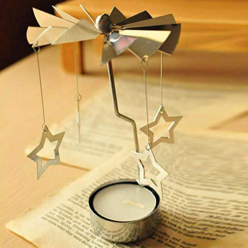 SUJING Spinning Tea Light Holder, Rotating Star Heart Tealight Candle Holder Spinning Design Tea Light Candle Holder Xmas Gift (A)