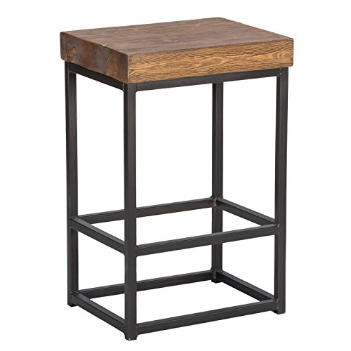 Farmhouse Industrial Iron Pine Backless Brown Counter Stool (Pine Stools Backless Bar)