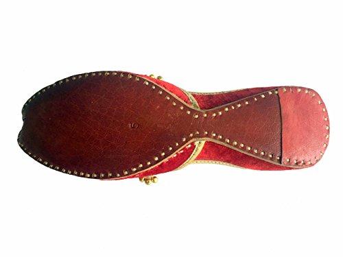 Step n Style Mujer Rojo Khussa Zapatos Punjabi Ghungroo jutti mojari étnico hecho a mano bailarina zapatos Casual Sandal Red