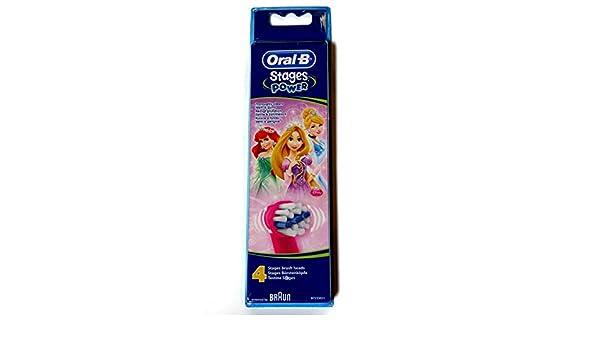 Oral-b - Braun stages - diseño disney princesas, cabezales para cepillo de dientes eléctrico para niños (4 unidades): Amazon.es: Salud y cuidado personal