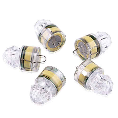 【Upgraded】 Fishing Lure Light Deep Drop Underwater, Water-Triggered Design & Seven Sealed Diamond LED, Versatile Flashing Fishing Light Squid Strobe (5PCS)