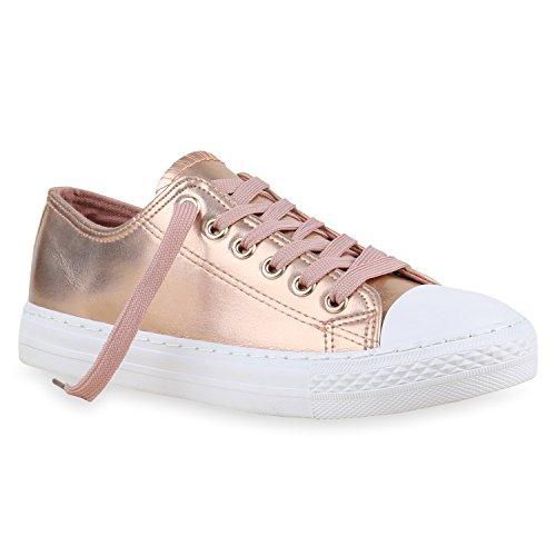 Stiefelparadies Übergrößen Rose Low Sneaker Damen Herren Flandell Gold Unisex rX04Sr