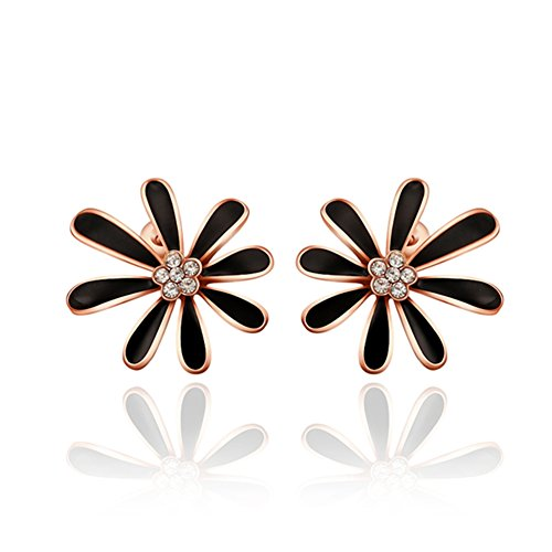 Waterford Collins Glass (Fashion Crystal Black Daisy Rose Gold Plated Stud Earrings Women-Guillermo B.Randle)