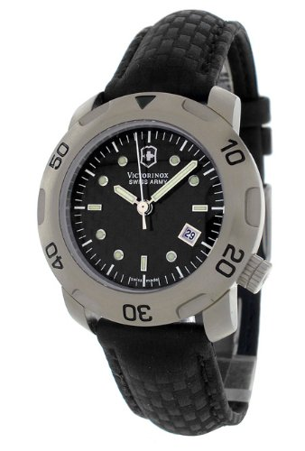 Swiss Army Womens Black Leather Sub Racer S Carbon Watch V.721.C124J,