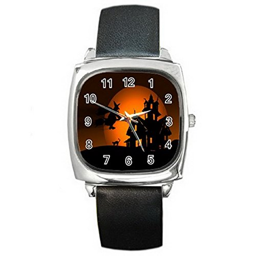 LSE012 Halloween Silver Tone Square Metal Wrist Watches for men women Hot Gift NEW
