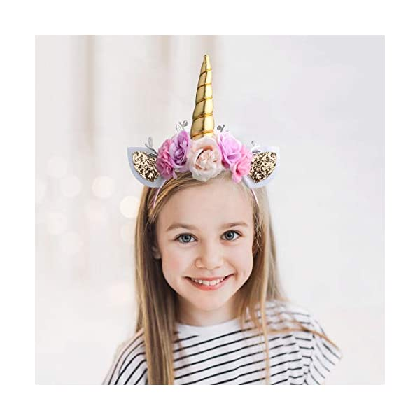 Unicorn Headband Gold Horn for Unicorn Party Supplies Flowers Cat Ear Head Bands by Ahier 6