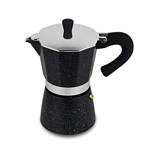 XIHAO Aluminum Stovetop Espresso Coffee Maker Moka Pot (6 Cup, Black)