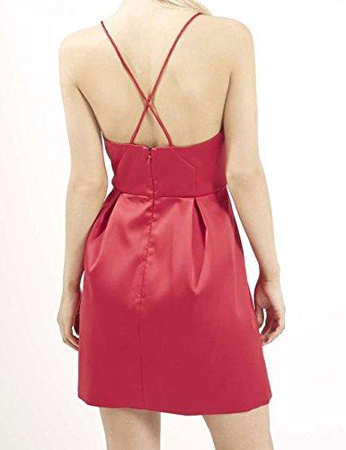 Robes De Bal En Satin Femme Court Dys Cocktail Backless Robe De Soirée Sarcelle Col V