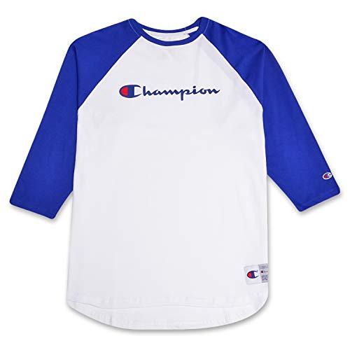 Champion Mens Big and Tall Raglan Baseball T Shirt with 3/4 Sleeve and Big C Logo Heather White/Royal 3X