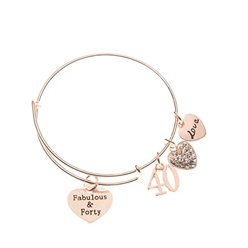 (40th Birthday Gifts for Women, 40th Birthday Rose Gold Expandable Charm Bracelet, 40th Birthday Ideas, Gift for Her)