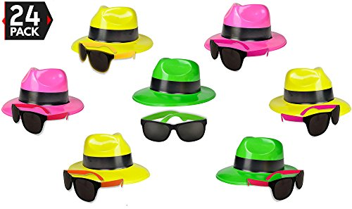 24 Neon Party Supplies Pack - Party Favors Assortment - 12 Neon Sunglasses & 12 Neon Plastic Gangster Hats - Fun Party -