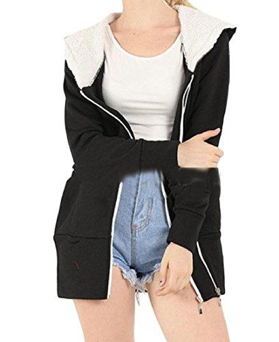 Howme Women Casual Hood Zipper Plus Size Plus Velvet Thickened Winter Coat Black