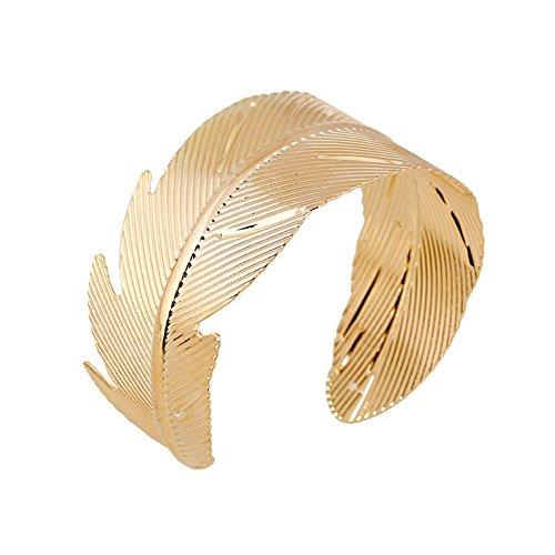 Leaf Bracelet Cuff (JSEA Open End Gold Leaf Arm Bracelets Bangle Cuff Bangle Bracelet Women Girls (arm Bangle))
